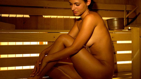 Sauna with infrared light